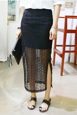 Teuim see-through lace skirt (19 primary stock)