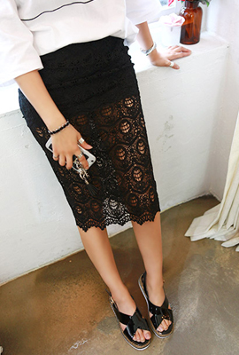 Teuim back lace midi skirt (secondary stock)
