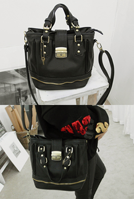 Stud zipper leather shoulder bag (15 th stock)