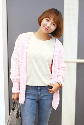 Waffle weave open cardigan (second stock)
