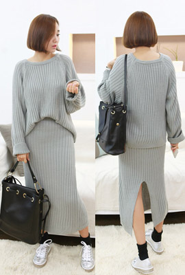 Corrugated knit two-piece set (4 primary stock)