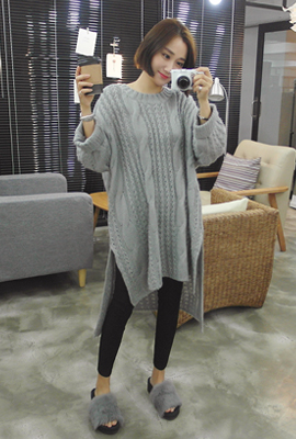 Roll-up sleeves Long knit tee (stock 23)
