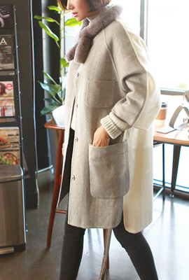 "Color transflective color wool coat ( ""HAND MADE"")"