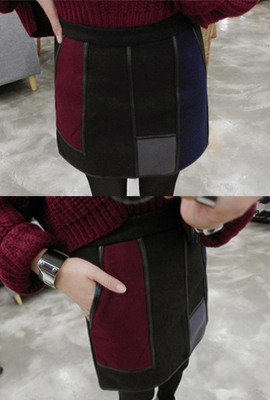 Line color mix leather skirts (7th stock)
