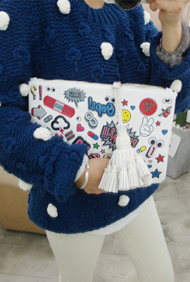 Big leather tassels clutch printing (secondary stock)