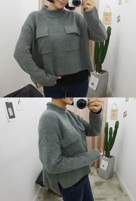 Pocket cropped angora knit tee (secondary stock)