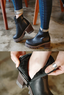 Black Ankle Fur Boots (5th stock)