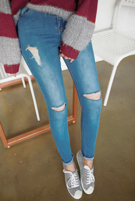 Cut-to-wash skinny jean (secondary stock)