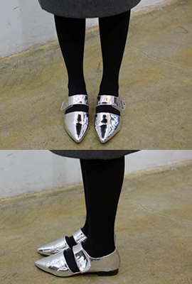 Velcro pointed flat shoes