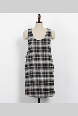 Check sleeveless dress