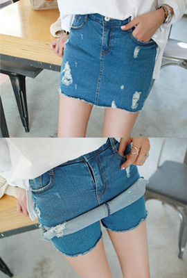 Damage denim skirt pants (stock 28)