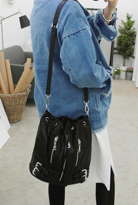 Zipper leather bucket bag (restocked 5th)