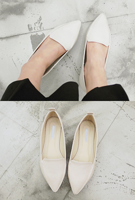 Simple pointed flat shoes (19th stock)
