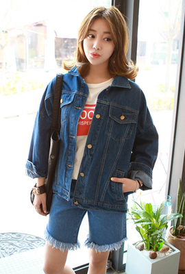 Pocket stitch denim jacket