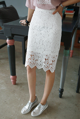 Embroidered lace skirt (12 th stock)