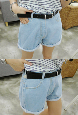 Rolling denim shorts belt set (3 primary stock)