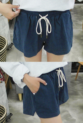 Linen trim bending short pants (3rd stock)