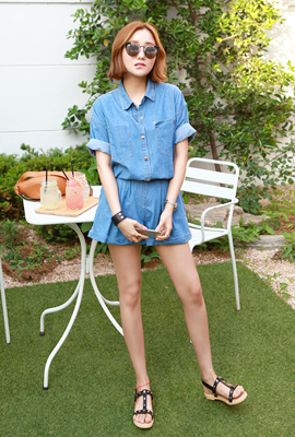 Two pocket denim two-piece set (2 tea stock)