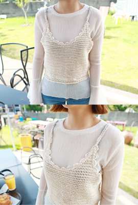 Knitted lace bustier