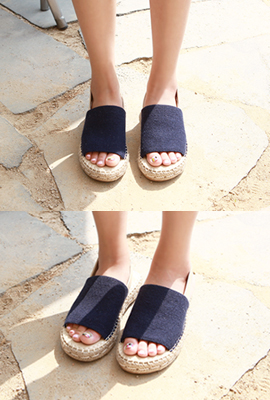 Straw Sling Back Sandals (6th stock)