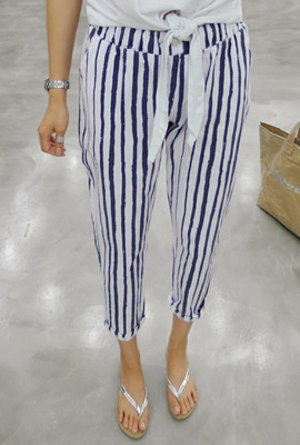 Striped string pants (42th stock)