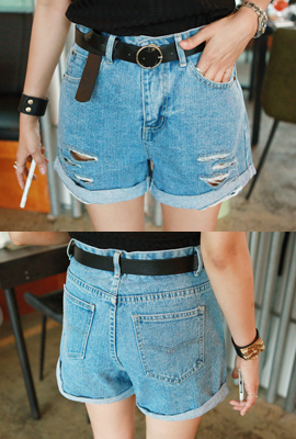 Frayed denim shorts belt set (2 tea stock)