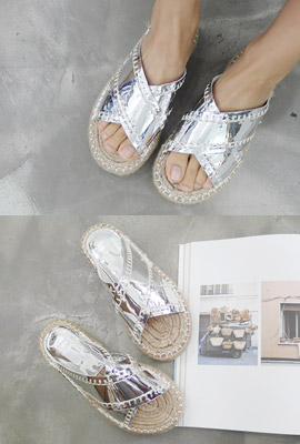 Stitch Straw Slippers (secondary stock)
