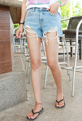 Hemmed shorts denim shorts (7th stock)