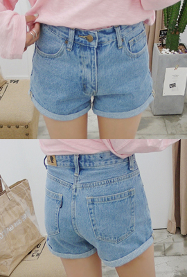 Basic roll-up denim shorts (25th stock)