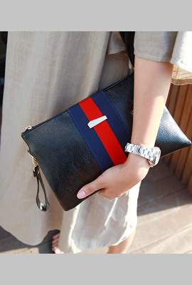 Line color leather clutch bag (6th in stock)