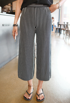 Wide pants striped banding (secondary stock)