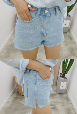 Teuim embroidered denim shorts (secondary stock)