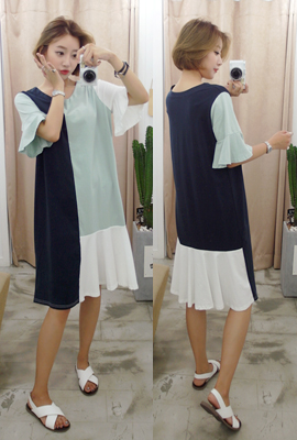 Color mix flare Long Dress (7th stock)