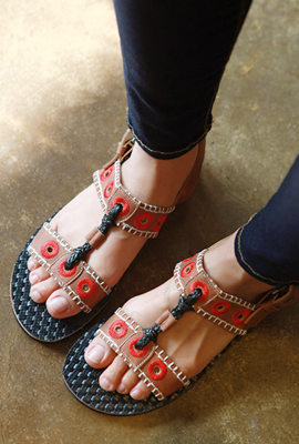 Punching embroidered sandals