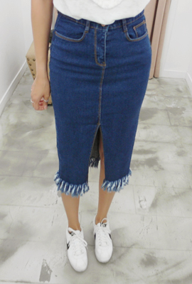 Deep teuim surgery denim skirt (5th stock)