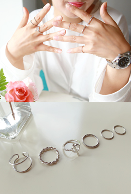 Mix throw line twist ring set