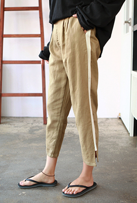 Teuim color banding pin tuck pants
