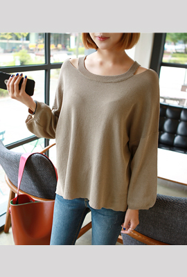 Teuim shoulder knit tee (3rd stock)