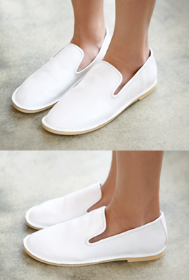 Real leather flat slip-on