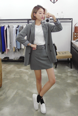 Striped jacket two-piece set (40th stock)