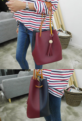 Color leather tassel tote bag (secondary stock)