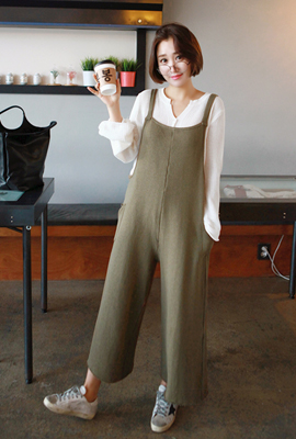 Wide pocket knitted jump suit