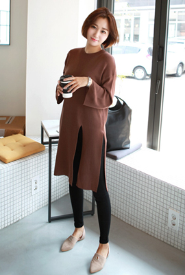 Left slit long knit tee (48 car stock)