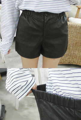 Side-banding Leather Shorts