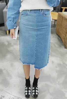 Marion cutting denim MIDI skirt (Stock tertiary)