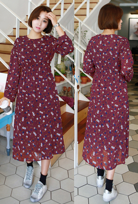 Flower Long Ruched Dress banding