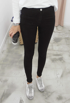 One button Bending skinny jeans (secondary stock)