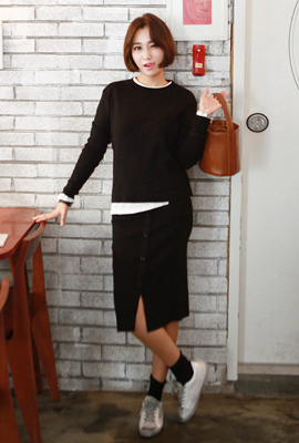 Button pocket knit two-piece set (7th stock)