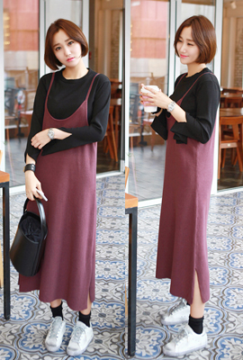 Long-sleeved knit dress (4th stock)