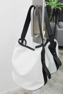 Cotton shoulder bag leather color